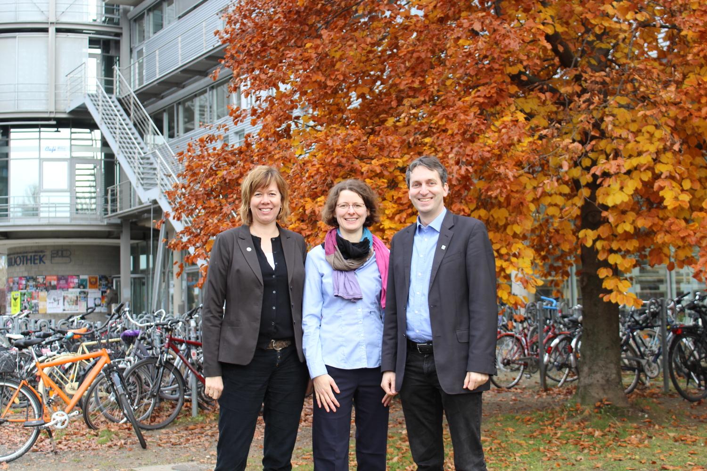 Von links: Christina Qaim, Lea Feodora Lenz und Martin Stammann von der Stabsstelle Kooperation und Innovation der Universität Göttingen.