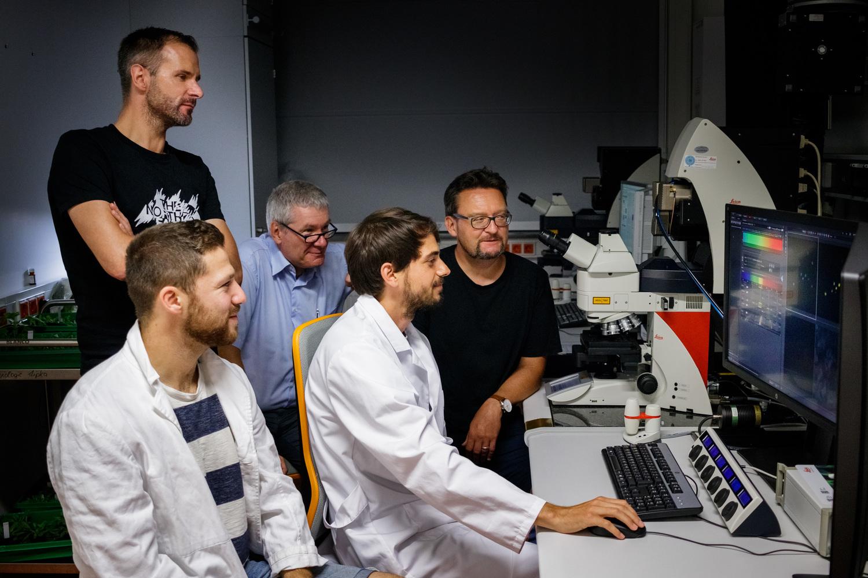 Daniel Lüdke zeigt seinen Kollegen die Ergebnisse der mikroskopischen Untersuchung.