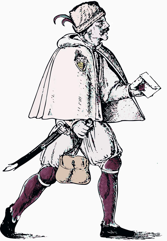 Die gering bezahlten Boten liefen auch weite Strecken meist zu Fuß (Nachbearbeitung eines Nürnberger Drucks von ca. 1520 von Hans Guldenmund).