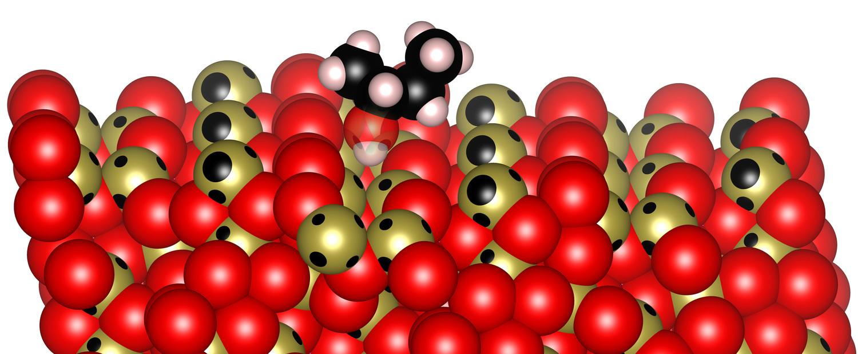 Ein Molekül auf der Oberfläche eines Festkörpers - durch Knüpfen und Lösen chemischer Bindungen lassen sich neue Wirk- und Werkstoffe synthetisieren.