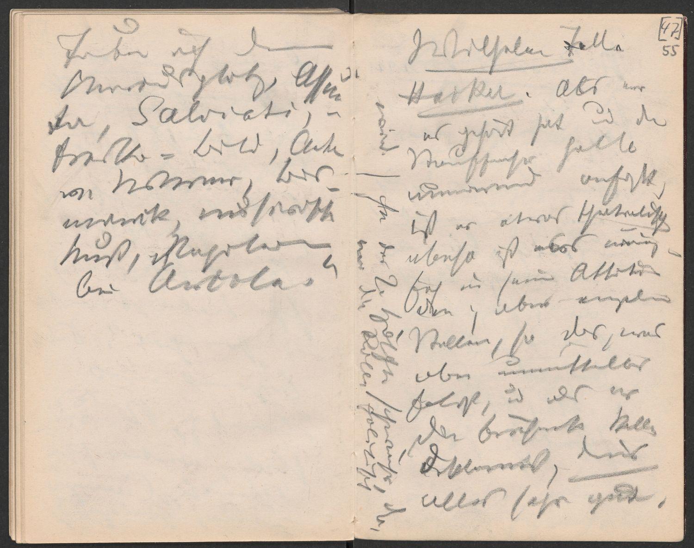 Fontane-Notizbuch B1, Blatt 55r: Theaternotizen zu Schillers