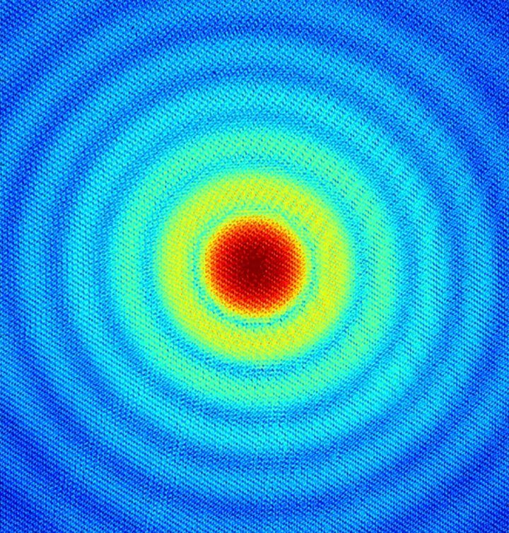 The scattering from the structure as recorded on the camera, in which the magnetic contribution is invisible to the naked eye.