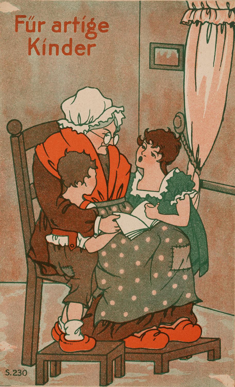 Für artige Kinder (um 1945) Das Heft zeigt in Bild und Vers Kinder beim Spiel. Die Kleidung der Kinder verweist historisierend auf die Jahrhundertwende, doch kann das Exponat aufgrund von Druck- und Papiertechnik später datiert werden.