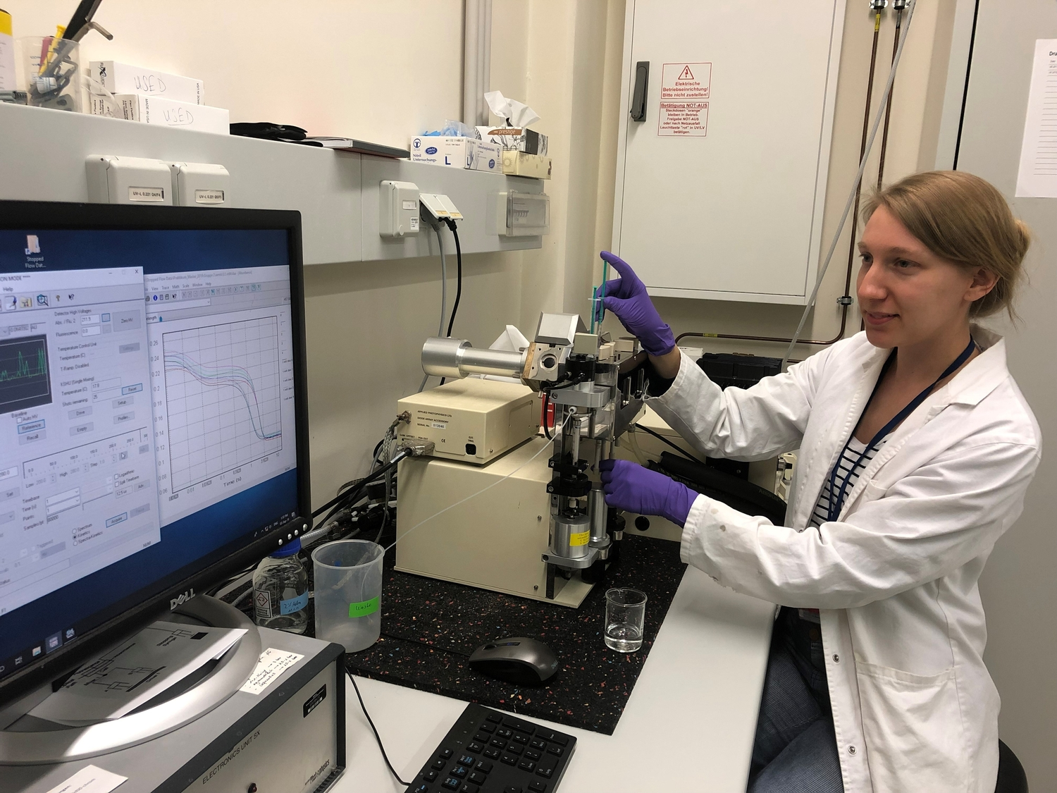 Lisa-Marie Funk, co-first author, analysing the mechanism of a protein using specialist biophysical methods in the lab.