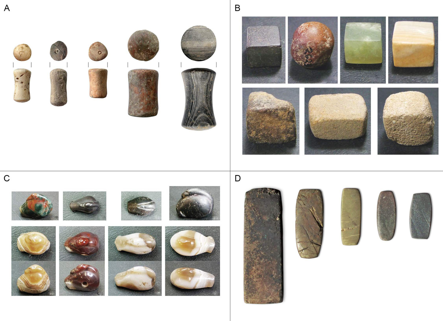 Examples of Western Eurasian balance weights of the Bronze Age. A: Spool-shaped weights from Tiryns, Greece (L Rahmstorf). B: Cubic weights from Dholavira, India (E Ascalone). C: Duck-shaped weights from Susa, Iran (E Ascalone). D: flat block weights from Lipari, Italy (N Ialongo).