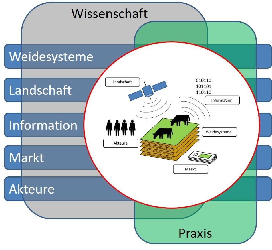 Building Blocks des interdisziplinären Verbundsprojekts GreenGrass in Kooperation von Wissenschaft und Praxis.