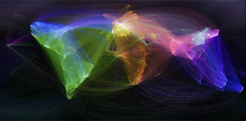 Effective knowledge-sharing for cutting-edge interdisciplinary research: international exchange is shown on this map of scientific collaboration. Credit: Olivier Beauchesne & Scimago Lab, data by Scopus/SPL (Nature)