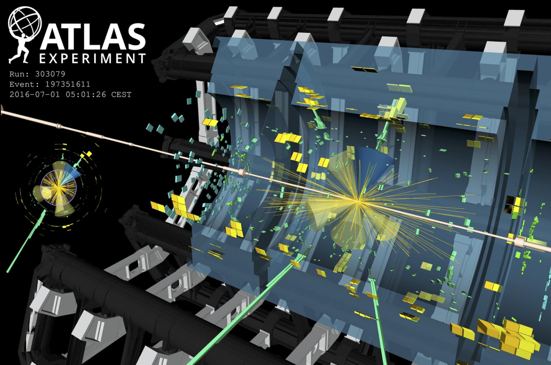 Visualisierung einer Teilchenkollision im ATLAS-Detektor, bei der Top-Quarks und Higgs-Teilchen entstehen.