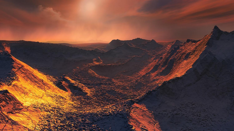 Barnards Star - künstlerische Darstellung eines Sonnenuntergangs