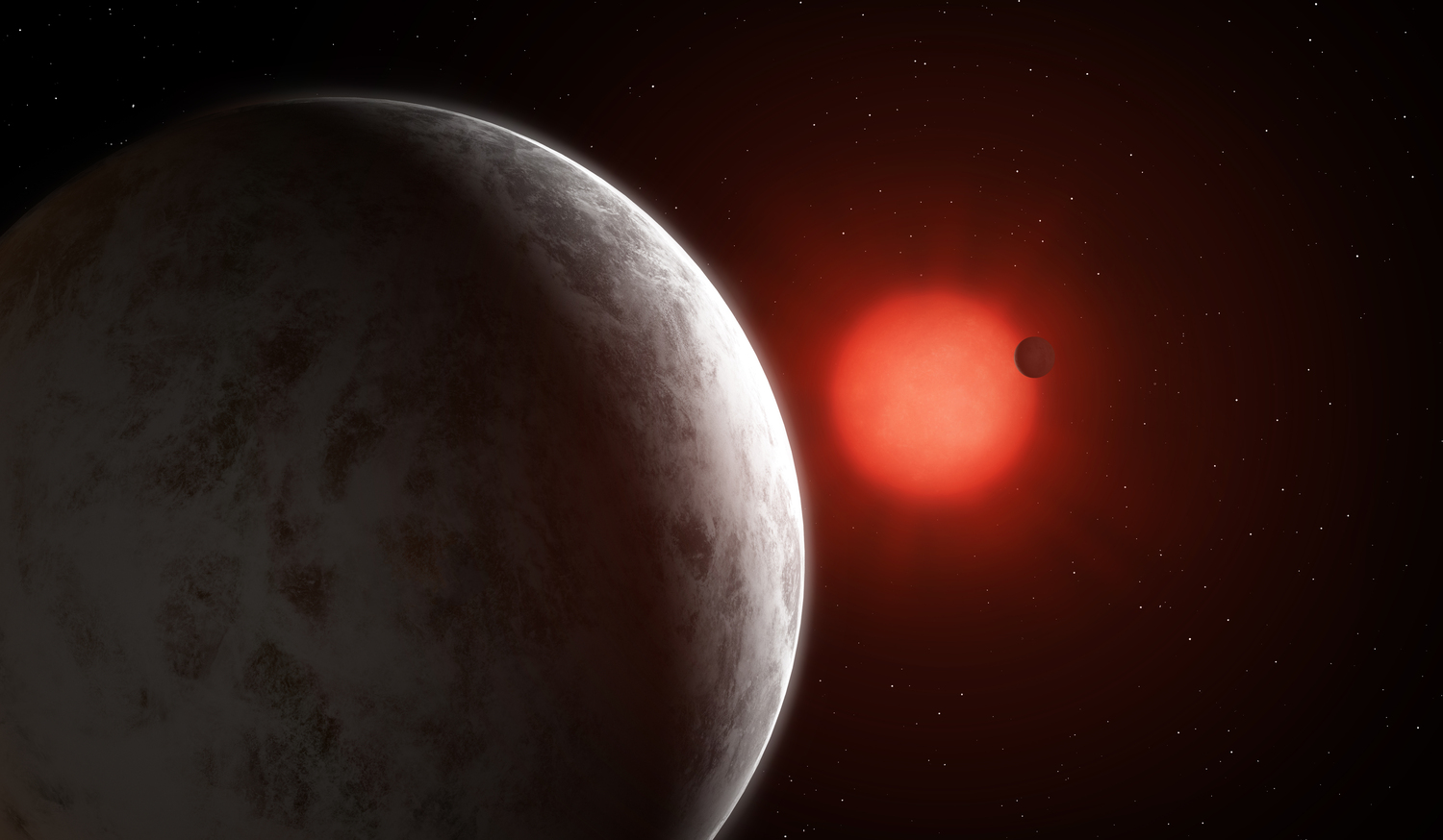 Artist's impression of the multiplanetary system of newly discovered super-Earths orbiting nearby red dwarf Gliese 887