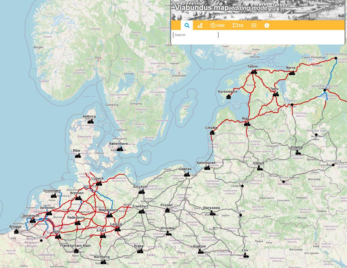 Gesamtausdehnung der digitalen Viabundus-Karte: Das Team hat eine digitale Plattform zu Fernhandelswegen in Nordeuropa zwischen 1350 und 1650 aufgebaut.