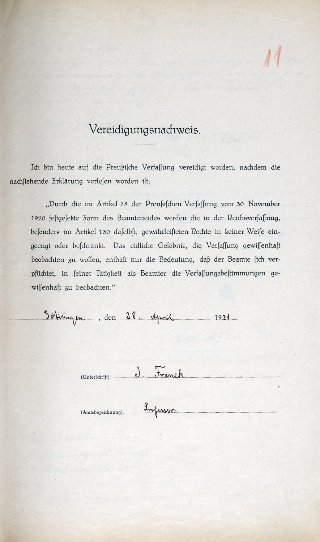 Vereidigung Francks auf die demokratische Verfassung Preußens zu seinem Amtsantritt in Göttingen (1921).
