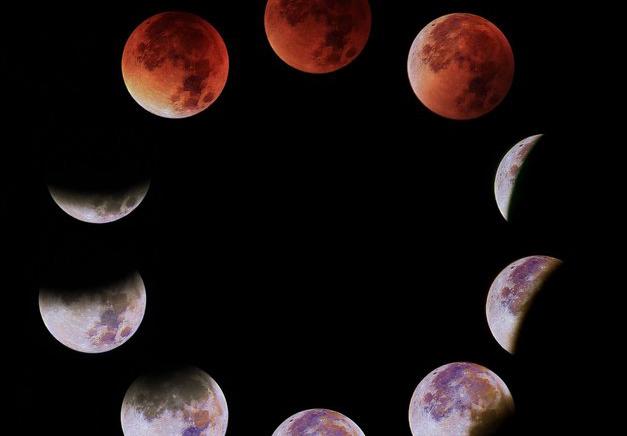 Bilderserie der letzten, von Göttingen aus sichtbaren totalen Mondfinsternis am 28. September 2015