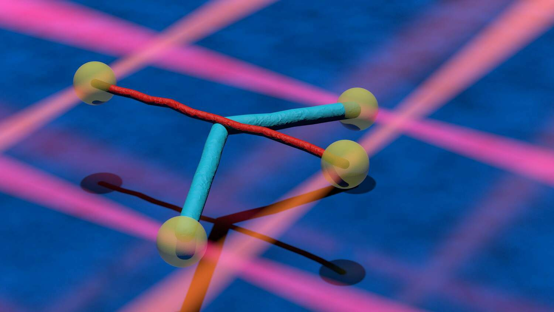 Zwei verschiedene zelluläre Filamente (cyan und rot) sind an mikroskopischen Kügelchen (gelb) befestigt. Die Partikel werden mithilfe von Laserstrahlen festgehalten (orangefarbene und rote Strahlen). Die Filamente werden gekreuzt und danach wie beim Geigespiel übereinander bewegt. Sie können so stark wechselwirken, dass eines der Filamente gebogen wird (blau).