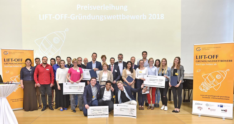 """Finale des Gründungswettbewerbs """"Lift-Off"""" 2018: Die Universität Göttingen hat erneut drei Teams von Studierenden, Promovierenden und Postdocs für ihre innovativen Gründungsideen ausgezeichnet."""