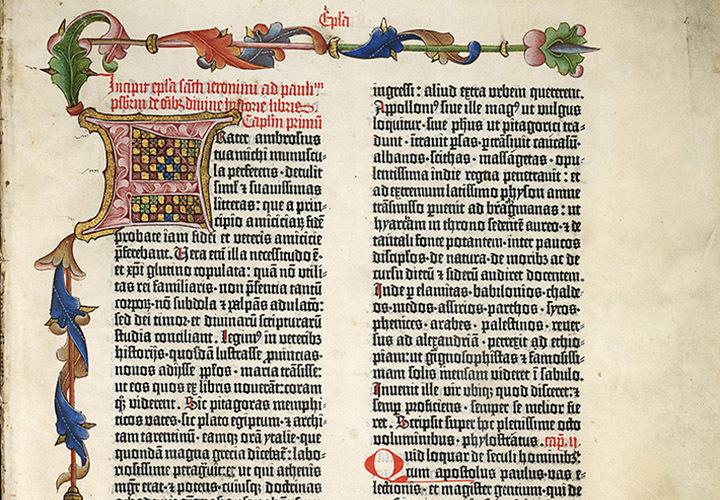 Auf Pergament gedruckt und kunstvoll illuminiert: Ausschnitt aus der Göttinger Gutenbergbibel.