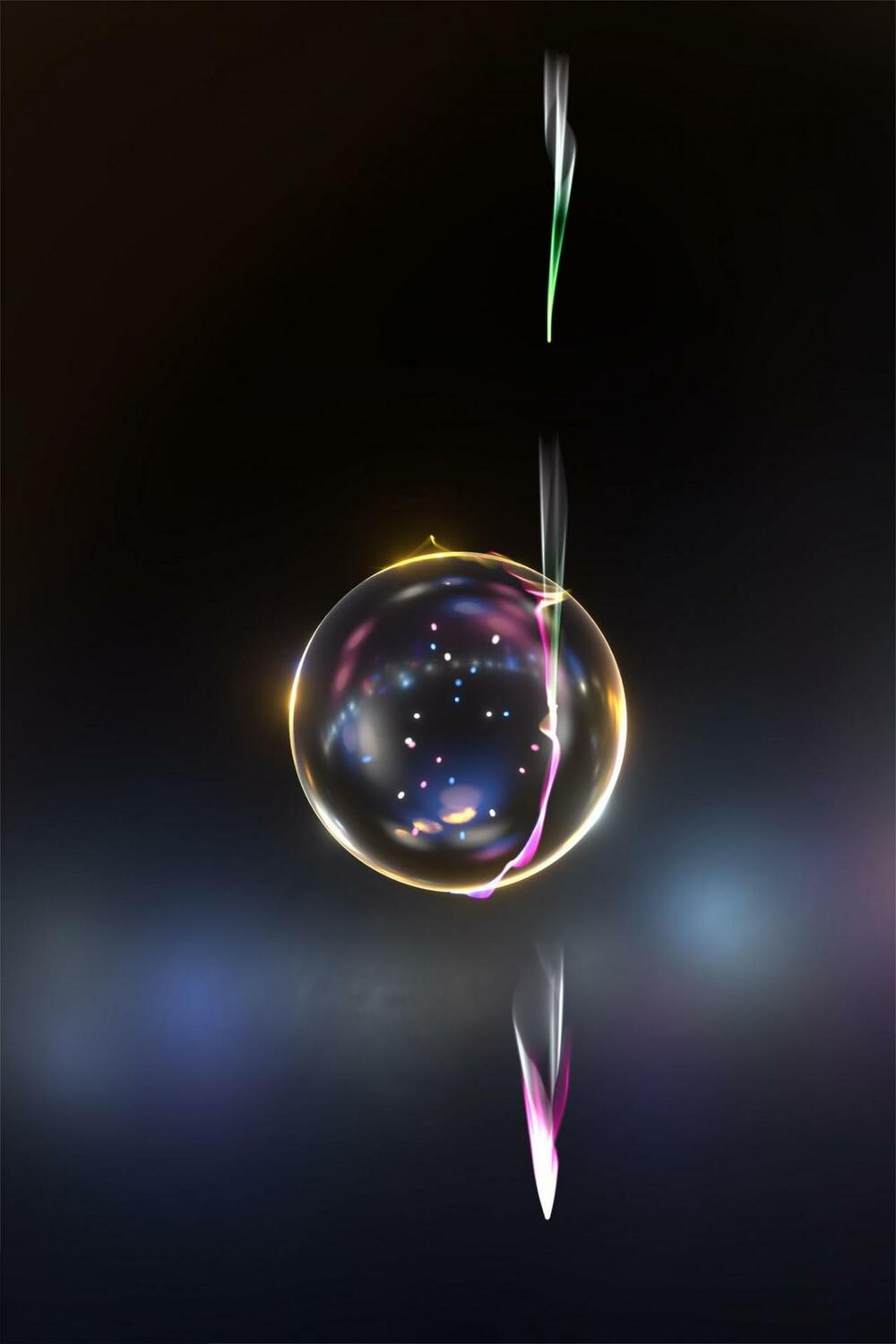 Artist's view of individual electrons interacting with an optical whispering gallery mode as it circles a silica sphere. The matching between the velocities of the electron and the light-wave it is riding changes the quantum state of the electron, illustrated as a wider halo.