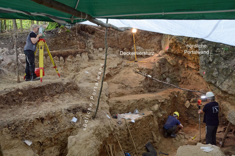 Die Ausgrabungen im verstürzten Eingangsbereich der Höhle im Jahr 2019. Gut erkennbar sind die teilerodierte Südwand und die gut erhaltene Nordwand, während das Höhlendach verstürzt ist. Der verzierte Knochen fand sich in Erdschichten unter der Nordwand.