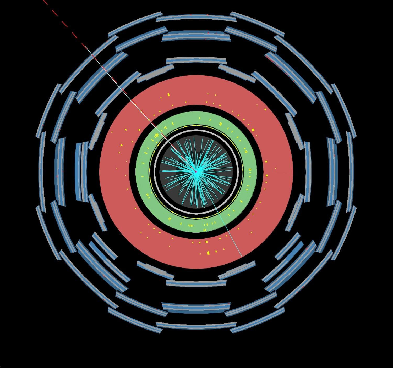Darstellung einer hochenergetischen Kollision vom ATLAS-Experiment des CERN-Forschungszentrums. Schüler und Schülerinnen suchen in solchen Kollisionen nach bekannten und auch unbekannten Teilchen.