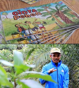 Informationen über das Pflanzen von Bäumen in Ölpalmplantagen wurden mit Hilfe einer illustrierten Informationsbroschüre (oben) und eines Filmes (unten) übermittelt. Beide Medien wurden in Kooperation mit lokalen Künstlern erstellt.