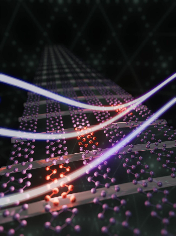 Künstlerische Darstellung des mit Lichtpulsen gesteuerten Phasenübergangs von Indium-Atomen auf einem Siliziumkristall.
