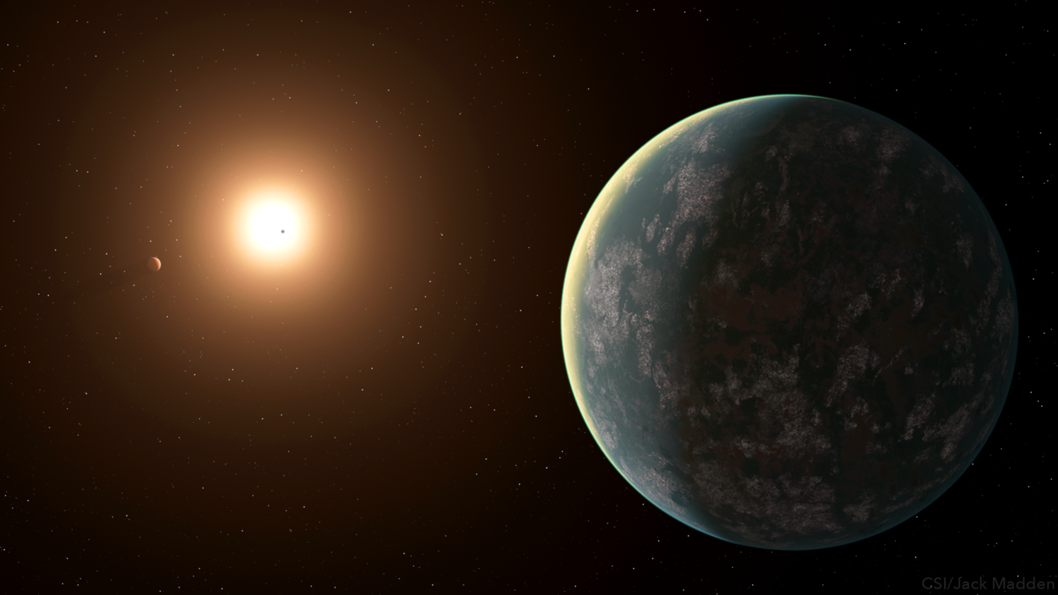 Artistic representation of the planetary system of GJ 357.