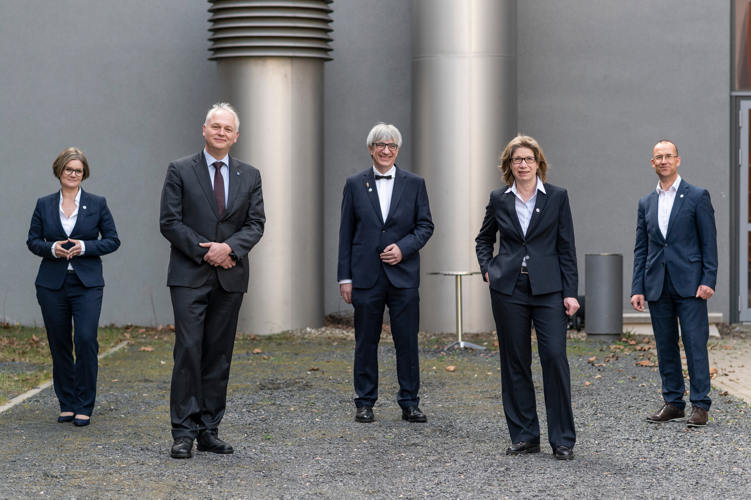 The Presidential Board of Göttingen University as of 1 April 2021: Dr Valérie Schüller, Professor Bernhard Brümmer, Professor Metin Tolan, Professor Anke Holler and Professor Norbert Lossau (from left to right) - Photo: Peter Heller